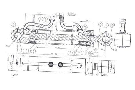 Siłownik hydrauliczny podpory 161-03140