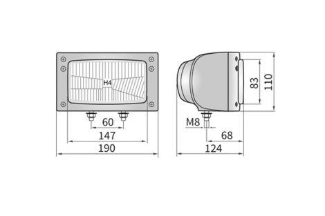 Reflektor H4 3F 190x110 + obudowa, złącze Deutsch, żarówki 12V