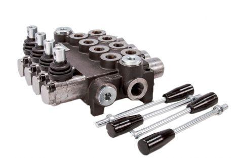 Rozdzielacz hydrauliczny czterosekcyjny 40L (z zintegrowanymi zaworami zwrotnymi)
