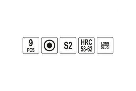 Klucz imbusowe 1,5-10mm 9szt kolor