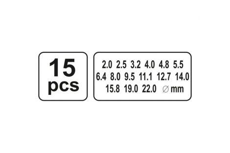 Przebijaki do skóry 2-22mm 15 części