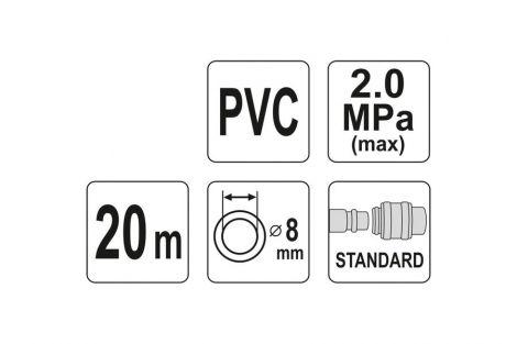 Wąż pneumatyczny PCV z szybkozłączem 8mmx20m