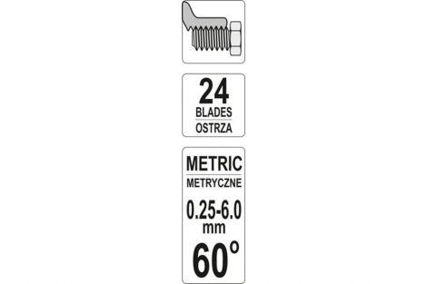 Sprawdzian grzebieniowy do gwintów metrycznych 24el