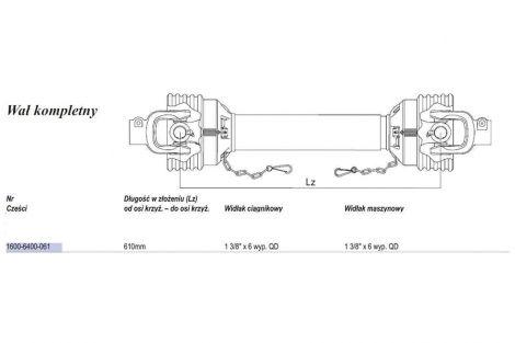 Wał Weasler 478Nm(Lz610mm.,Lmax830mm)