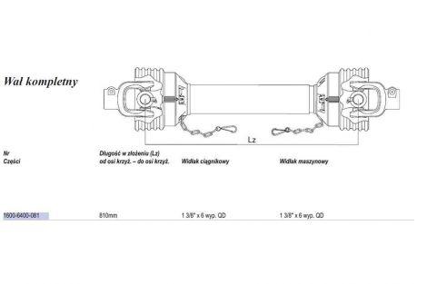 Wał Weasler (Lz=810mm-Lmax1130mm)