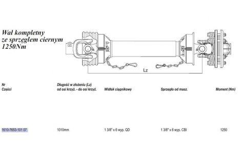 Wał Weasler 1250Nm (Lz1010mm-Lmax1418mm) cierna tarcz