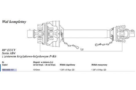 Wał Weasler (Lz1010mm-Lmax1360mm)