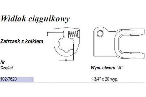 Widłak z kołkiem AW35 1 3/4x 20spl